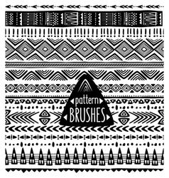 Set of ethnic pattern brushes vector image