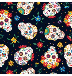 Day of the dead floral skull pattern background vector