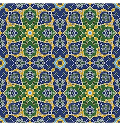 Arabesque seamless pattern in blue and green vector image
