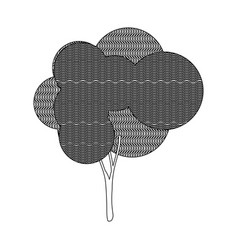 Monochrome silhouette leafy tree with wave lines vector