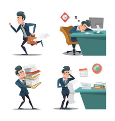 Stress at work businessman with briefcase vector