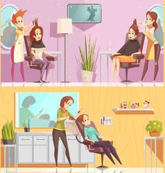 Hair salon horizontal cartoon banners vector
