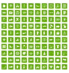 100 hand icons set grunge green vector