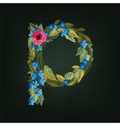 P letter flower alphabet colorful font vector