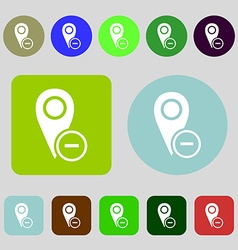Map pointer icon sign 12 colored buttons flat vector