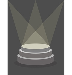 Round pedestal on a dark background illuminated by vector