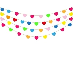 Color heart flags banner vector