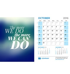 Desk calendar for 2016 year october stationery vector
