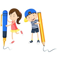 Boy and girl writing on the floor vector
