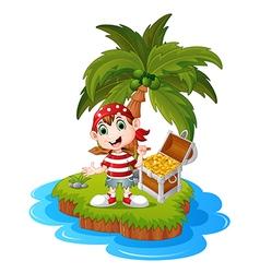 Pirate in the treasure island vector