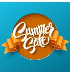 Summer sale lettering ribbon background vector