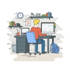 Man with laptop sitting at home vector image
