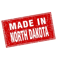 North dakota red square grunge made in stamp vector