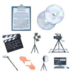 a movie camera a floodlight a chromakey and vector image vector image