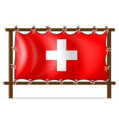 A wooden frame with the flag of Switzerland vector image vector image