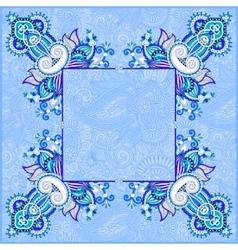 Blue floral vintage frame ukrainian ethnic style vector