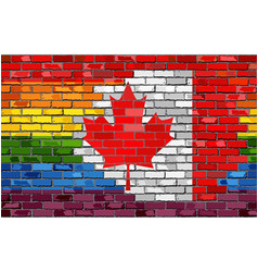 Brick wall canada and gay flags vector