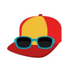 Cap and sunglasses icon vector