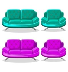 Cartoon colorful armchair and sofa set 9 vector