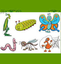 Cartoon insect characters set vector