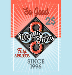 Color vintage donuts store banner vector