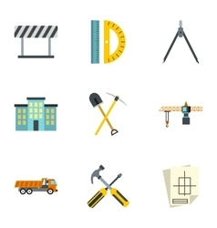 Construction tools icons set flat style vector