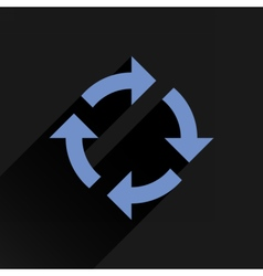 Flat blue arrow icon rotation reset repeat sign vector