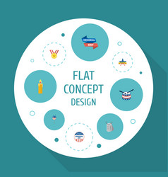 Flat icons ribbon decoration identity and other vector