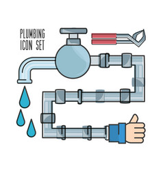 Flat set icon tools plumbing vector