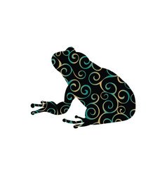 Frog amphibian color silhouette animal vector