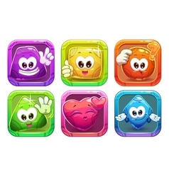 Funny cartoon colorful glossy shape characters vector image vector image