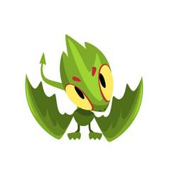 Green baby dragon with funny muzzle cartoon vector