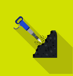 Jackhammer icon in flat style isolated on white vector