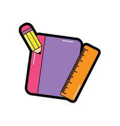 Notebook with pencil school supplies icon image vector