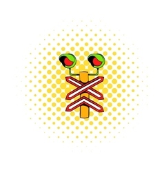 Rail crossing signal icon comics style vector