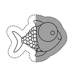 Silhouette happy fish cartoon icon vector