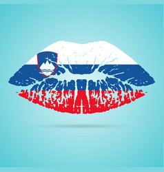slovenia flag lipstick on the lips isolated on a vector image