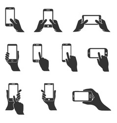 smartphone in hand icons vector image vector image