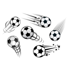 Speeding footballs or soccer balls vector image