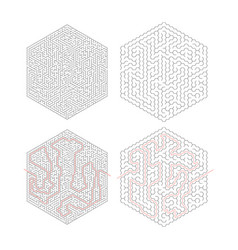 two complicated hexagon-shape labyrinths with red vector image vector image
