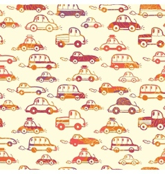 Vibrant cars seamless pattern background vector image