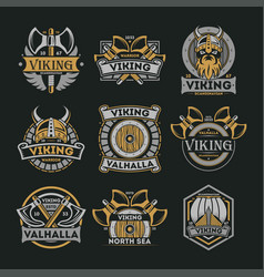 viking vintage isolated label set vector image