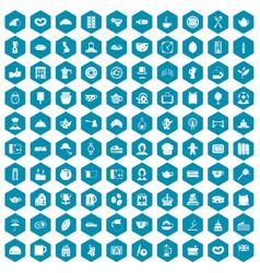 100 tea time food icons sapphirine violet vector image vector image