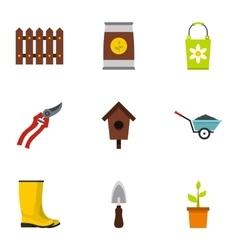 Farming icons set flat style vector