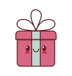 kawaii love gift box ribbon valentine vector image