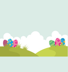 Easter egg on the hill landscape vector