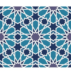 Arabesque seamless pattern in blue and grey vector image