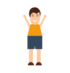Funny happy cartoon man on a white background vector
