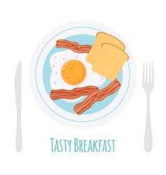 Healthy breakfast - bacon egg toast fried bread vector