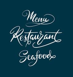 Menu restaurant typography vector